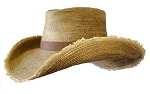Buckwheat - Two-tone Antiqued Palm w/ frayed brim & leather band